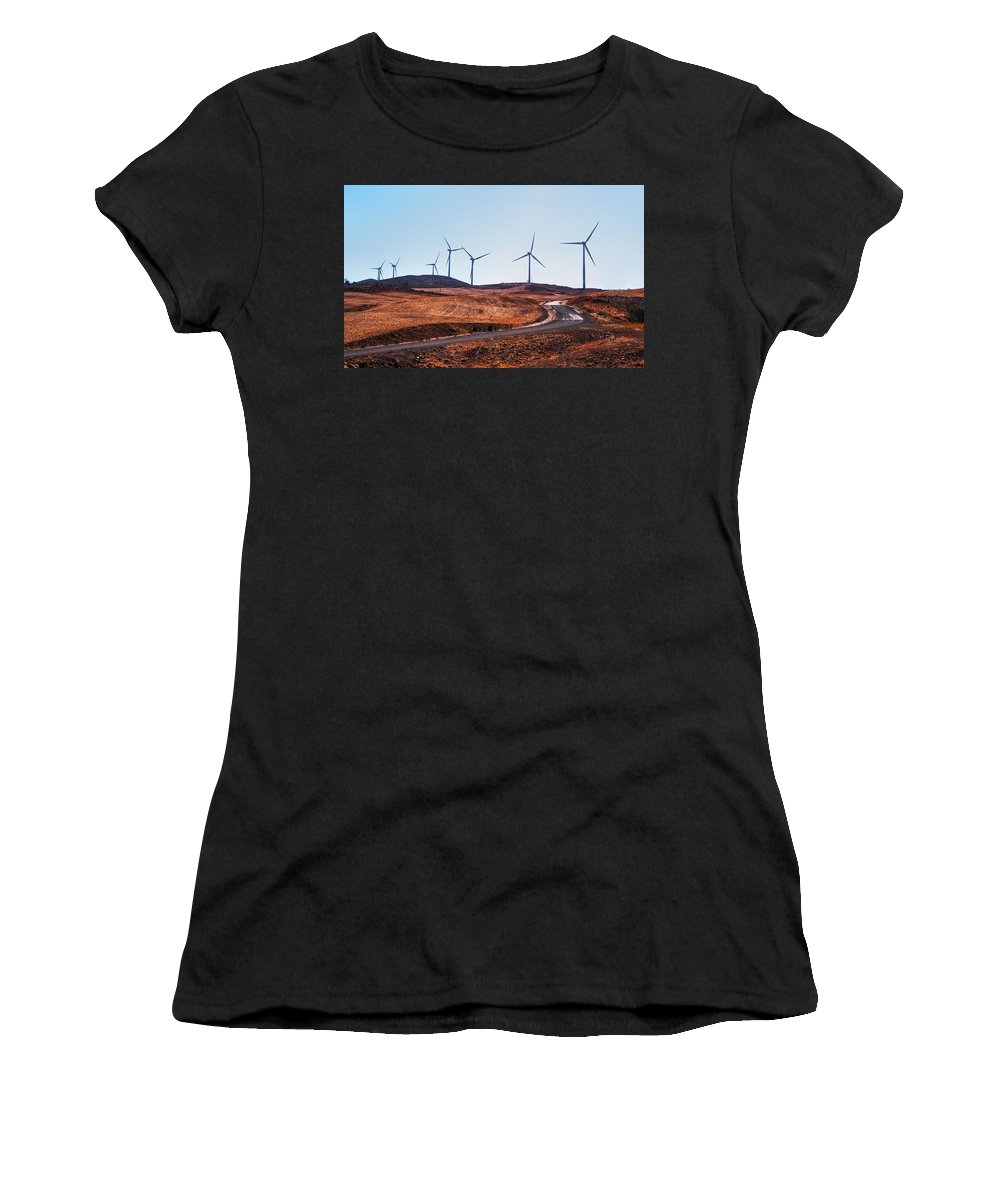 Landscape Women's T-Shirt (Athletic Fit) featuring the photograph Windmills Near El Chorro by Jenny Rainbow