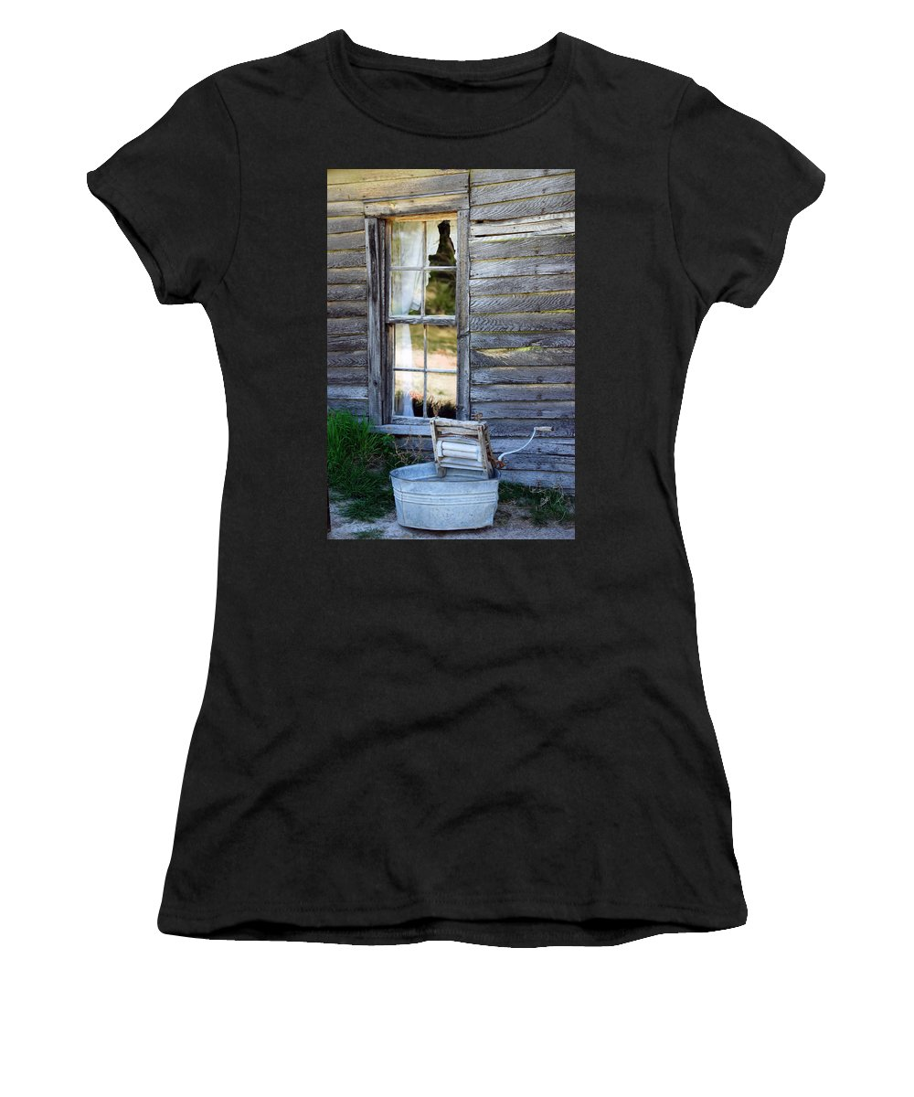 Window Women's T-Shirt (Athletic Fit) featuring the photograph Window On Prairie Life by Judy Hall-Folde