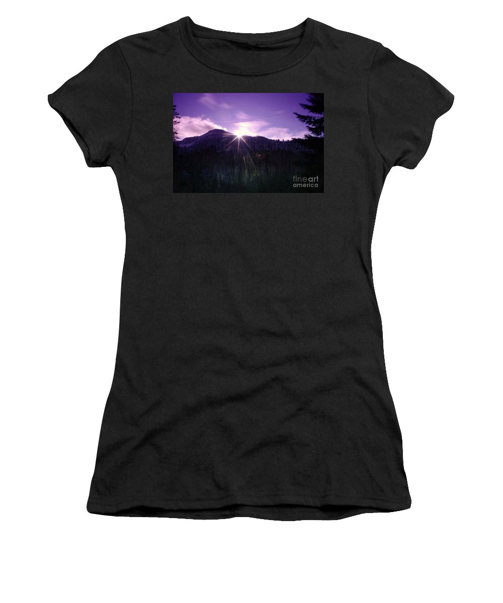 Women's T-Shirt (Athletic Fit) featuring the photograph Winter Sun Winking Over The Mountains by Jeff Swan