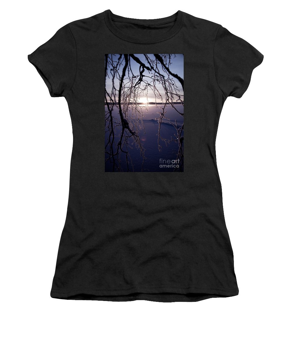 Beautiful Women's T-Shirt (Athletic Fit) featuring the photograph Winter Sunset by Kati Finell