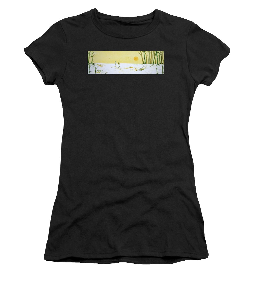 Forest Women's T-Shirt (Athletic Fit) featuring the painting Winter Warmth by Trudy Kepke