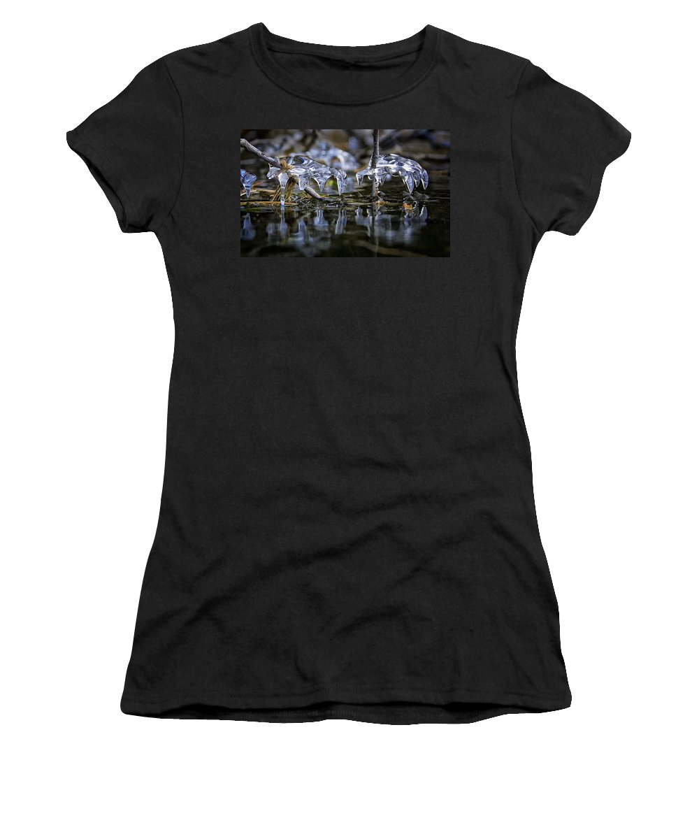 Winter Water Women's T-Shirt (Athletic Fit) featuring the photograph Winter Water by Paul Bartell