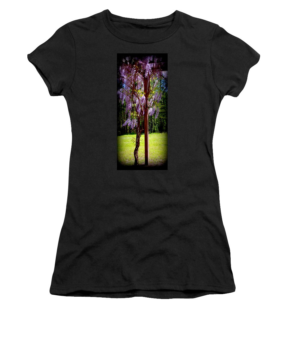 Wisteria Women's T-Shirt (Athletic Fit) featuring the digital art Wisteria by Tina Meador
