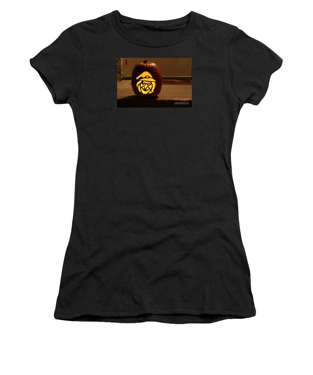 Pumpkin Women's T-Shirt (Athletic Fit) featuring the photograph Witch Pumpkin by Living Color Photography Lorraine Lynch