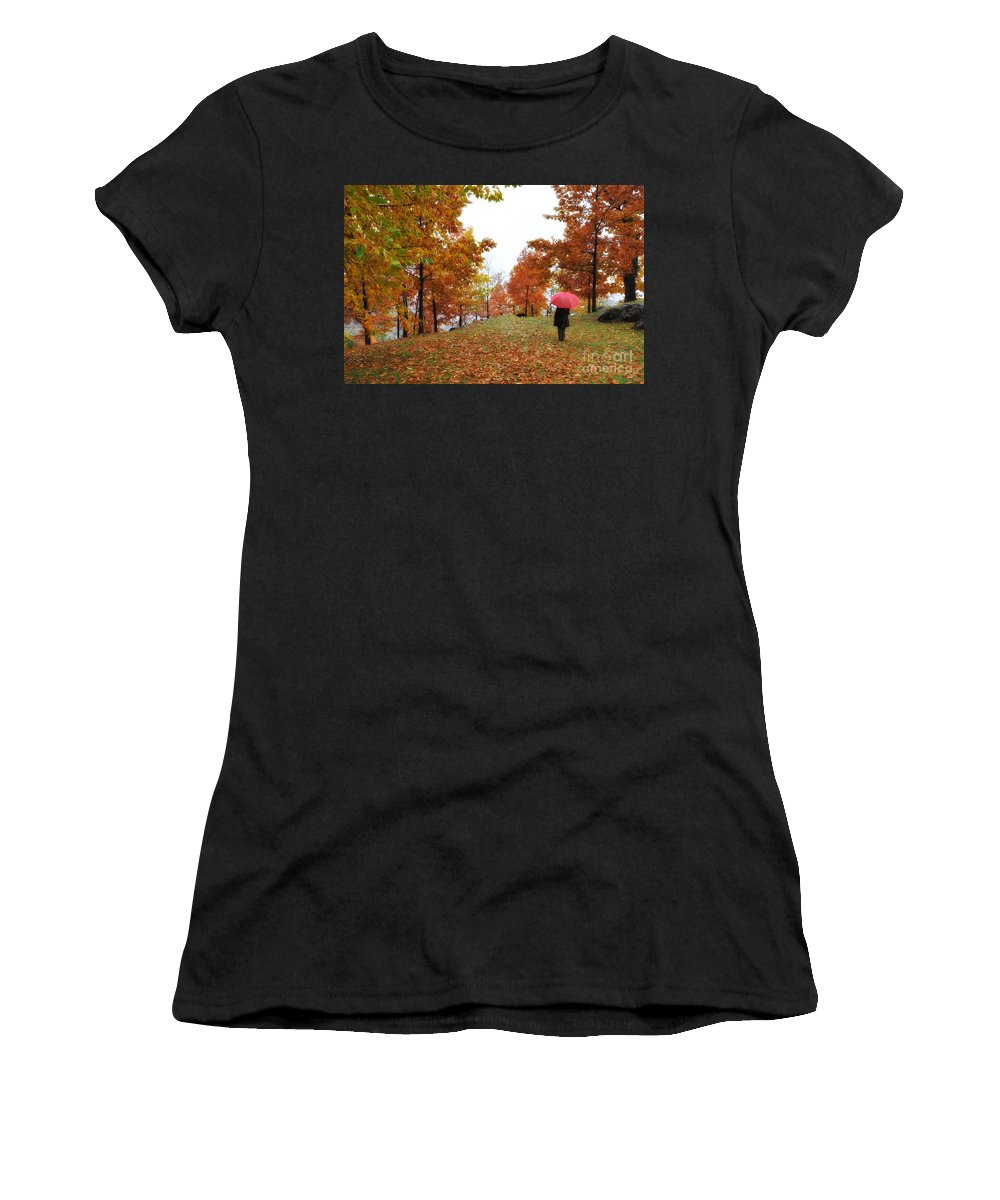 Woman Women's T-Shirt (Athletic Fit) featuring the photograph Woman With A Red Umbrella by Mats Silvan