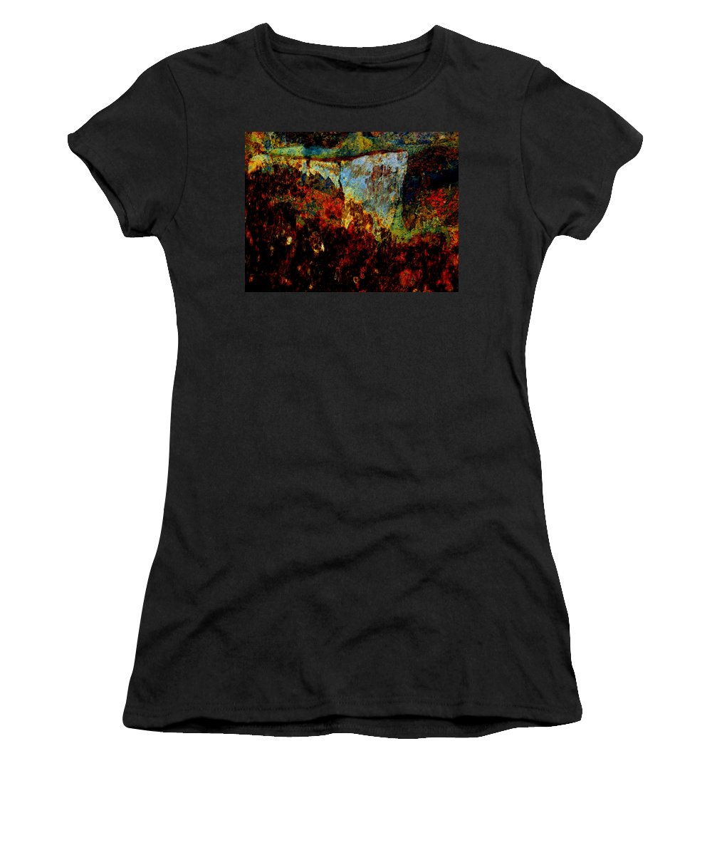Abstract Women's T-Shirt featuring the photograph Wyoming Waterfall Abstract by Lenore Senior