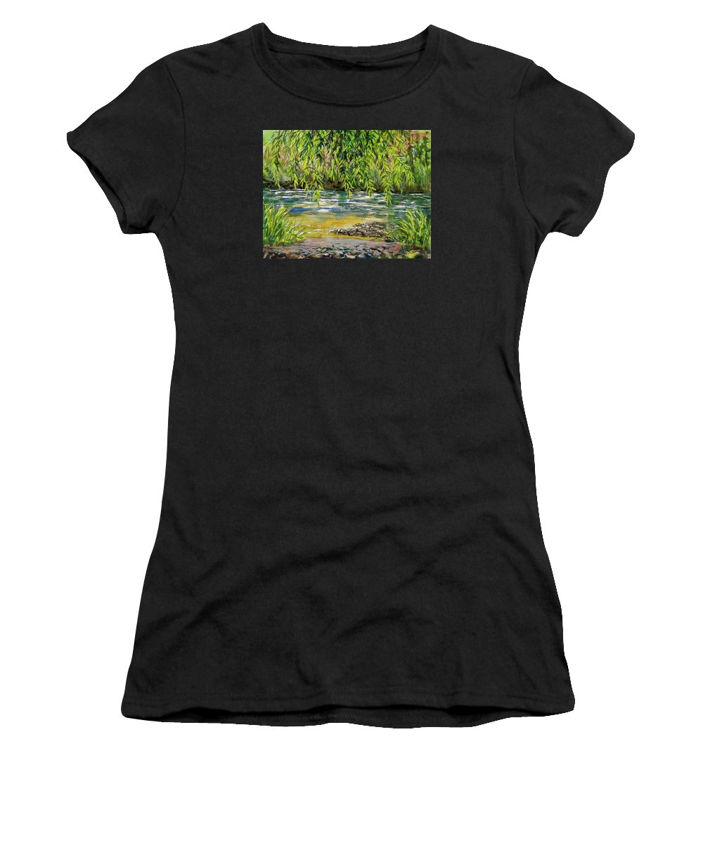 Plein Air Watercolor Women's T-Shirt (Athletic Fit) featuring the painting Yakima River by Lynne Haines