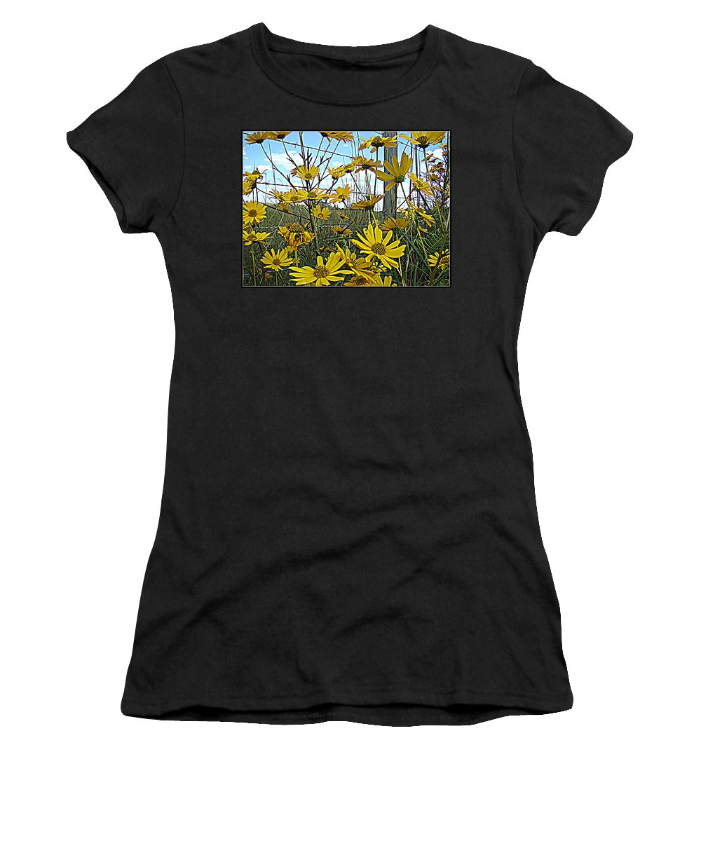 Yellow Flowers Roadside Pretty Women's T-Shirt (Athletic Fit) featuring the photograph Yellow Flowers By The Roadside by Alice Gipson