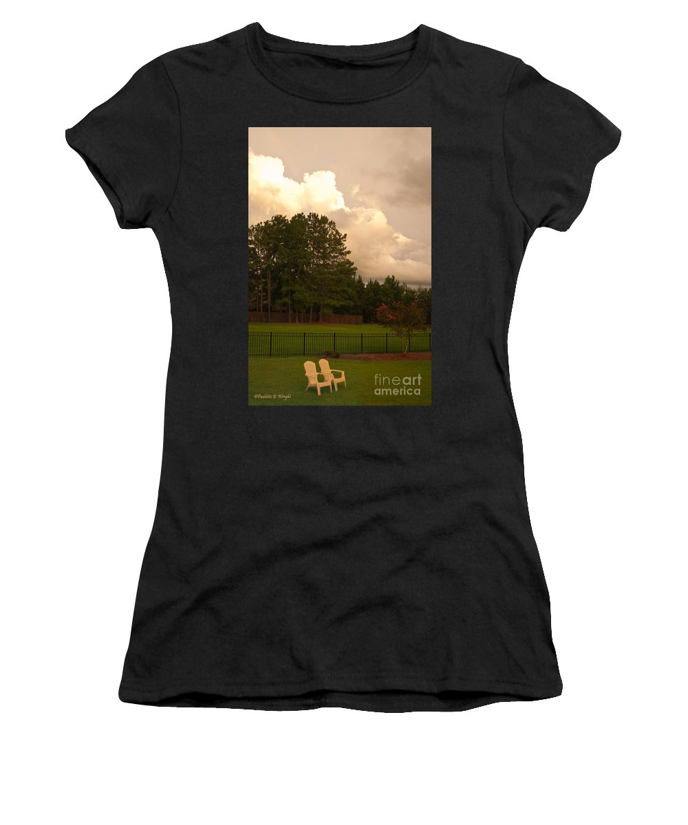 Nature Women's T-Shirt (Athletic Fit) featuring the photograph Yellow Lawn Chairs by Paulette B Wright
