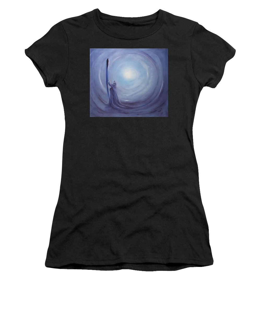Woman Women's T-Shirt (Athletic Fit) featuring the painting ---das Licht In Der Hand--- by Carola Eleonore Thiele