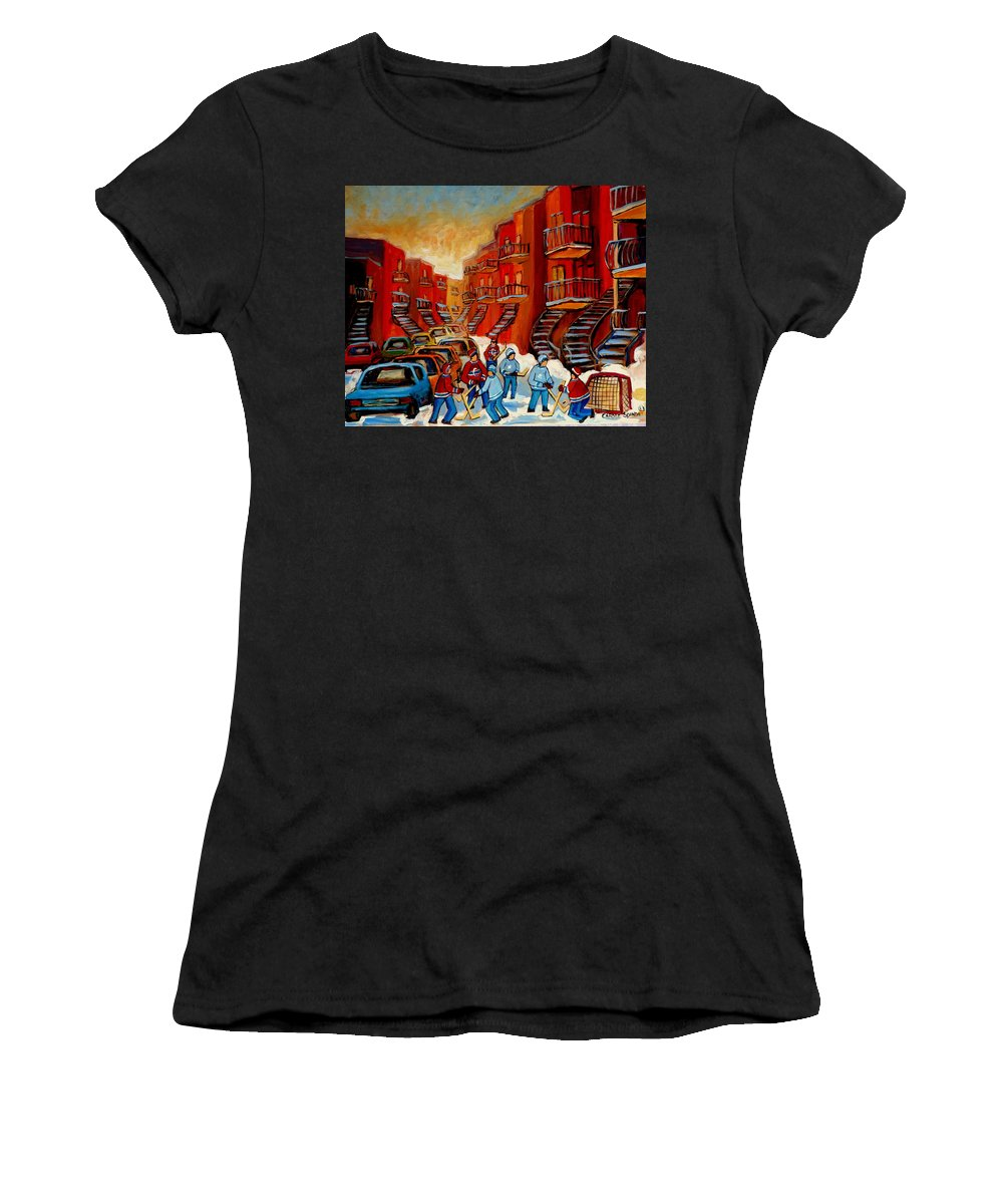Hockey Women's T-Shirt (Athletic Fit) featuring the painting A Beautiful Day For The Game by Carole Spandau