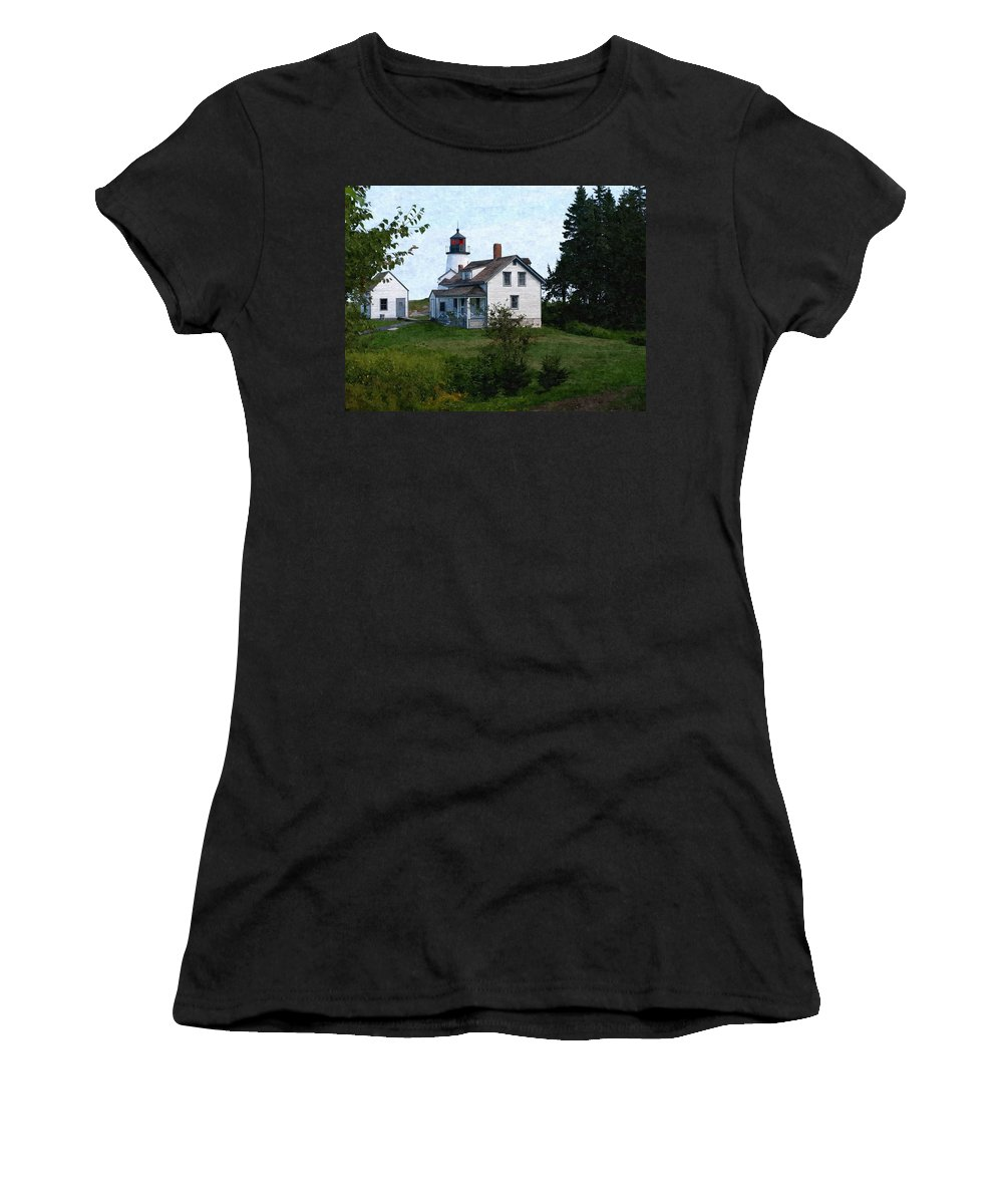 New England Lighthouse Women's T-Shirt (Athletic Fit) featuring the photograph Burnt Island Maine by Nancie DeMellia