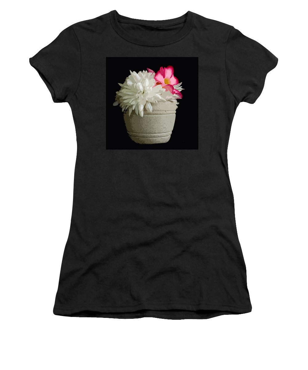 Snowball Women's T-Shirt featuring the painting Desert Rose  Chrysanthemum And Adenium Obesum by Allan Hughes