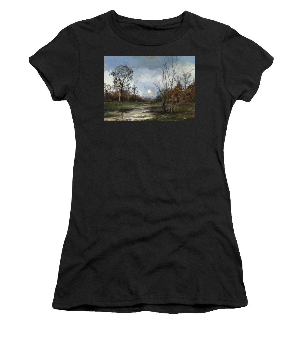 Landscape Women's T-Shirt (Athletic Fit) featuring the painting Evening by Chatri Ahpornsiri