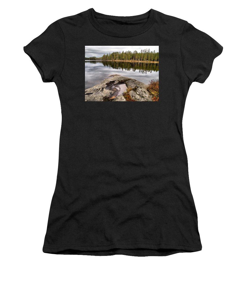 Lehtokukka Women's T-Shirt (Athletic Fit) featuring the photograph Haukkajarvi Landscape by Jouko Lehto