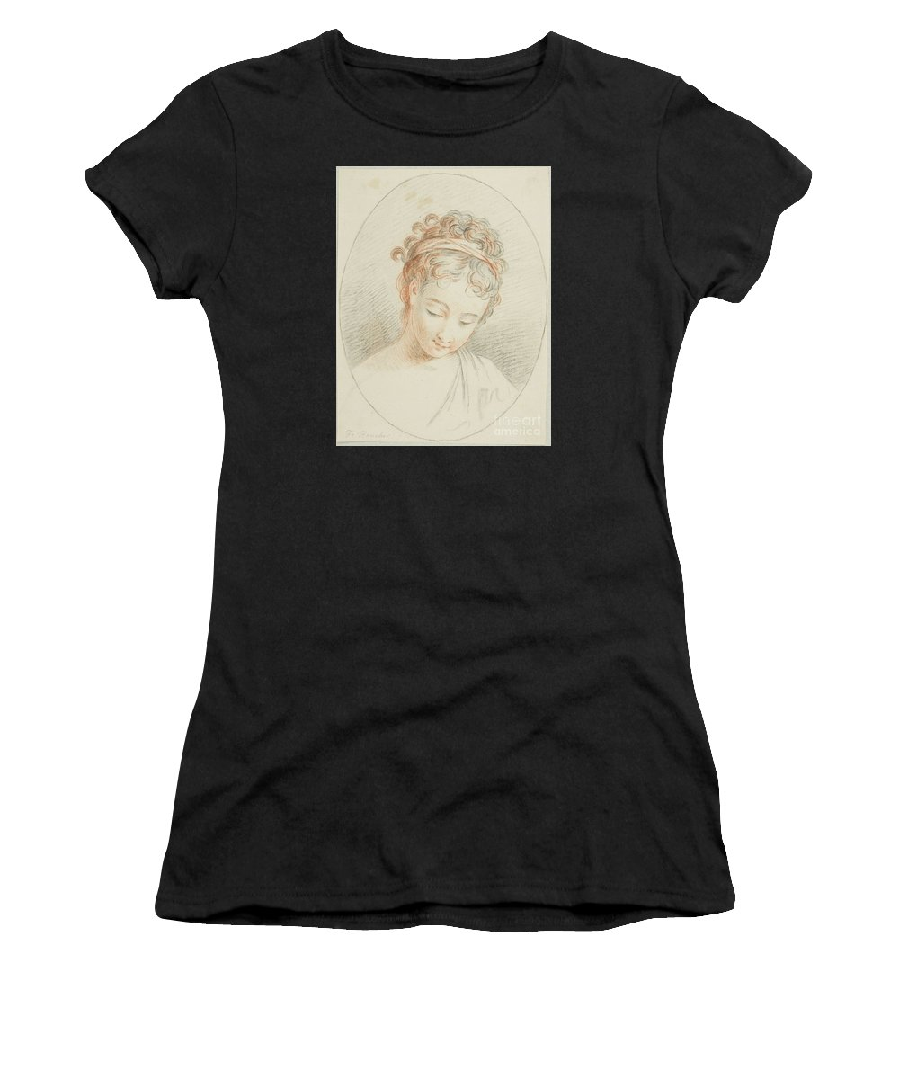 Follower Of Fran�ois Boucher Women's T-Shirt (Athletic Fit) featuring the painting Head Of A Girl by MotionAge Designs