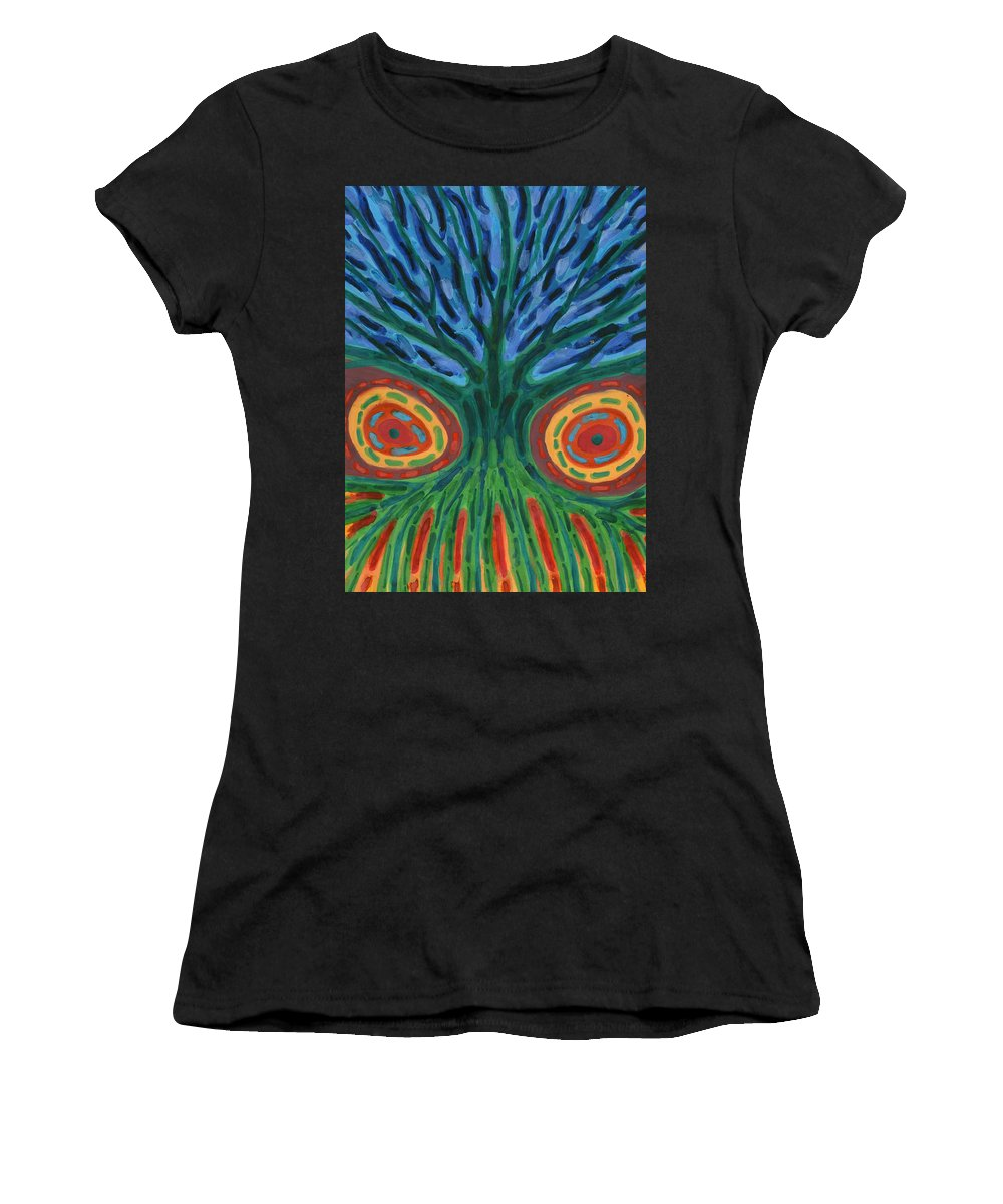 Colour Women's T-Shirt (Athletic Fit) featuring the painting I See You by Wojtek Kowalski
