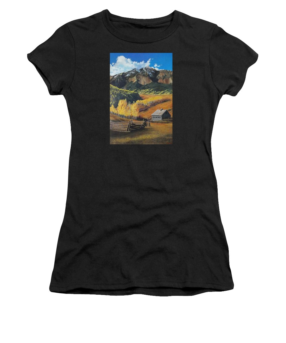 Colorado Rockies Women's T-Shirt (Athletic Fit) featuring the painting I Will Lift Up My Eyes To The Hills Autumn Nostalgia Wilson Peak Colorado by Anastasia Savage Ealy