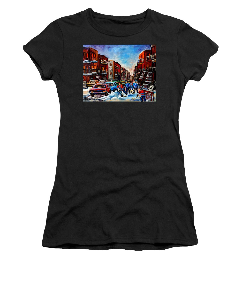 Montreal Women's T-Shirt (Athletic Fit) featuring the painting Late Afternoon Street Hockey by Carole Spandau