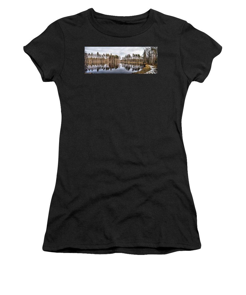 Lehtokukka Women's T-Shirt (Athletic Fit) featuring the photograph Liesilampi Panorama by Jouko Lehto