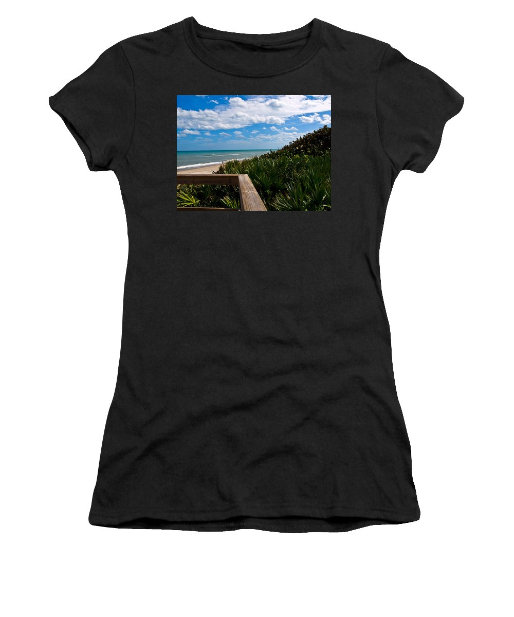 Beach; February; Florida; Warm; Warmth; Temperature; Degrees; Weather; Sun; Melbourne; Sand; Shore; Women's T-Shirt (Athletic Fit) featuring the photograph Melbourne Beach On The East Coast Of Florida by Allan Hughes