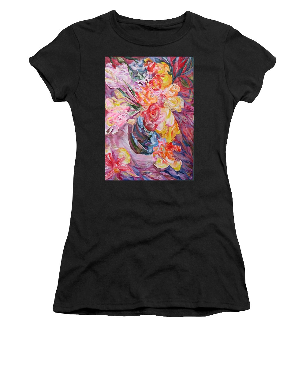 Abstract Women's T-Shirt featuring the painting My Bouquet by Maya Bukhina