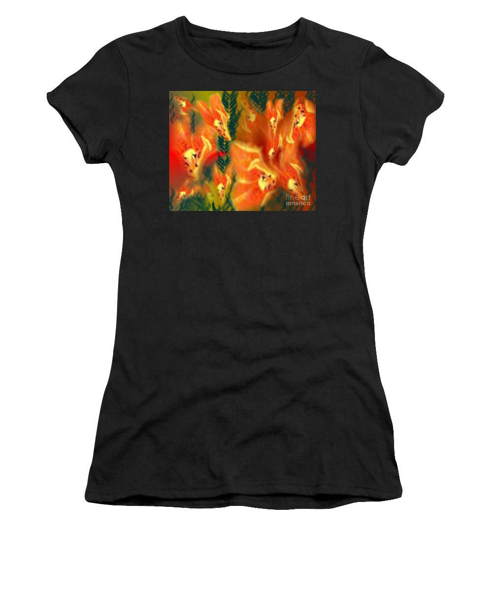 Florals Women's T-Shirt (Athletic Fit) featuring the digital art Symphonic Dance by Brenda L Spencer