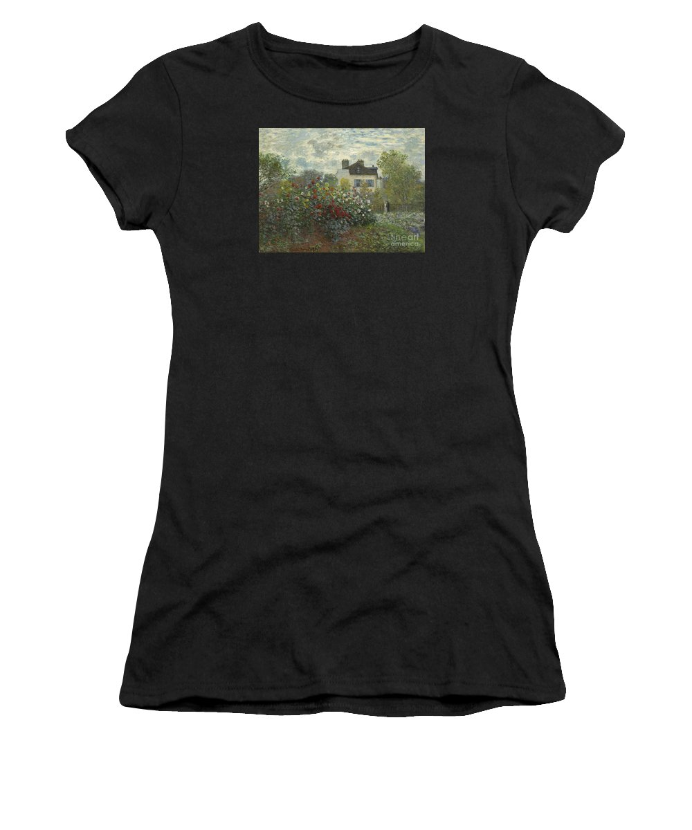 Monet Women's T-Shirt (Athletic Fit) featuring the painting The Artist's Garden In Argenteuil by Celestial Images