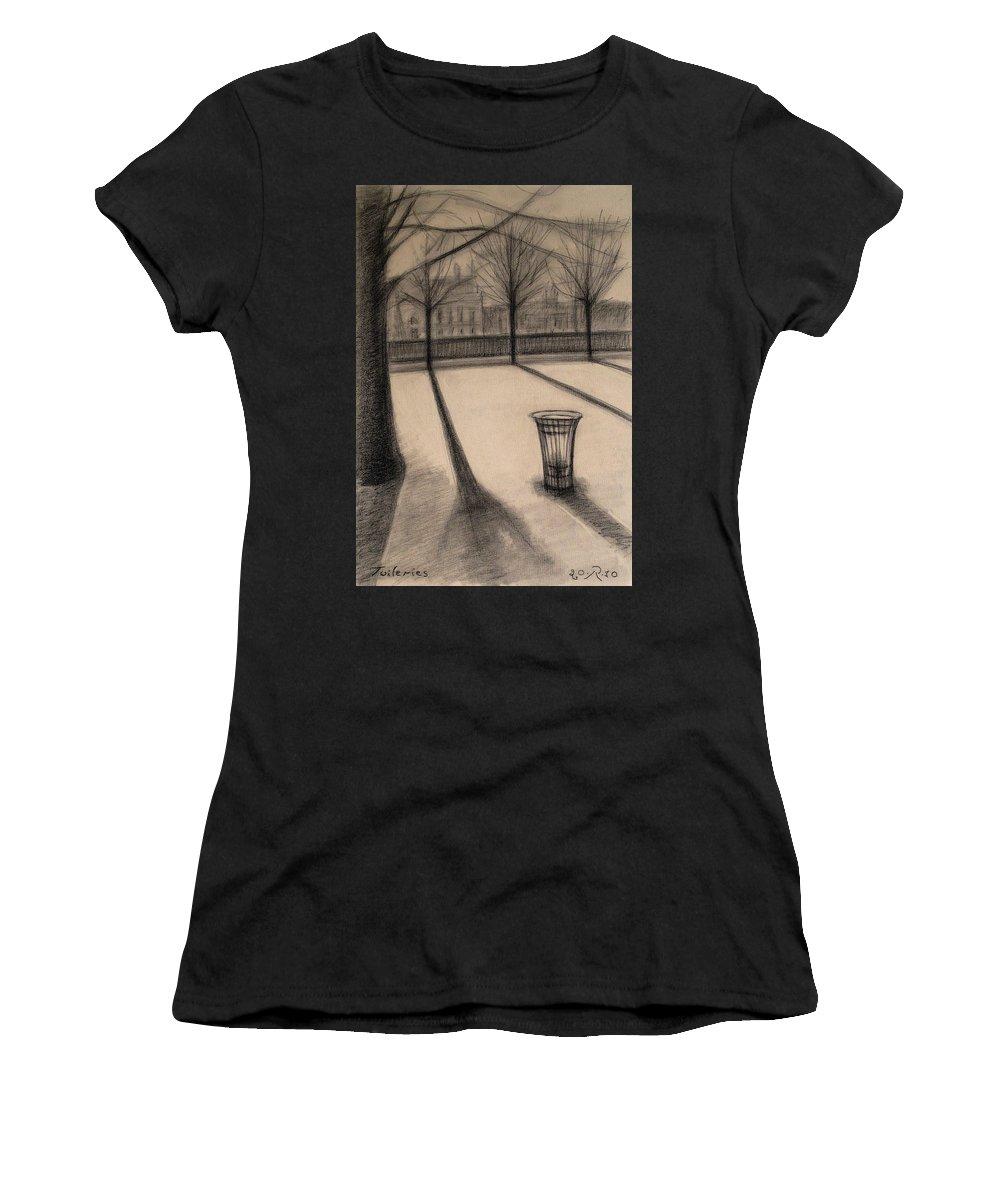 Paris Women's T-Shirt (Athletic Fit) featuring the drawing The Evening In Tuileries Paris by Raimonda Jatkeviciute-Kasparaviciene