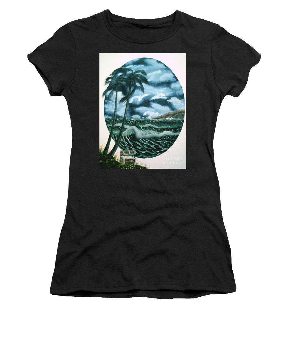 Seascape Women's T-Shirt (Athletic Fit) featuring the painting Treasures Of The Sea by Jim Saltis