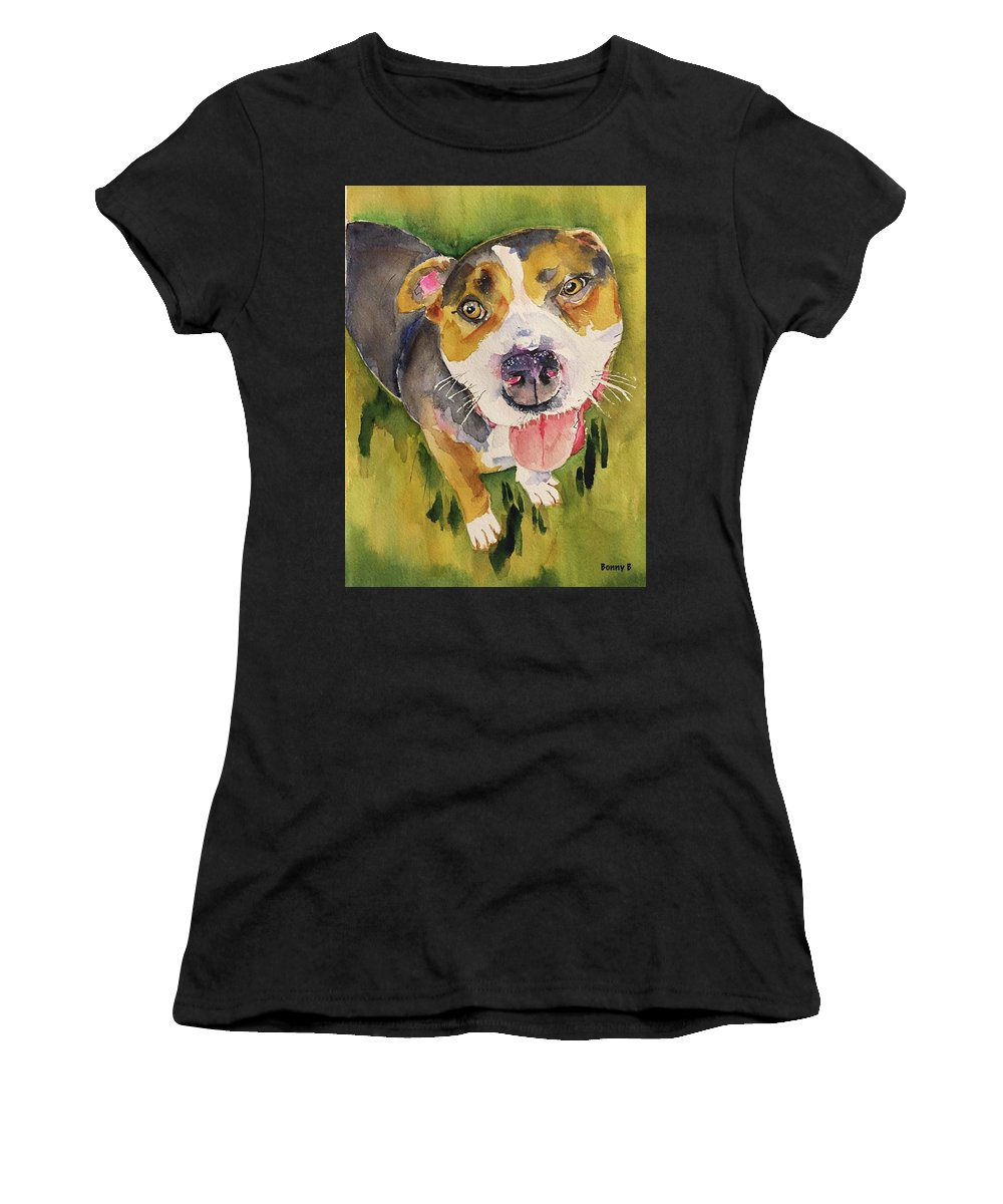 Dog Women's T-Shirt (Athletic Fit) featuring the painting Bull by Bonny Butler