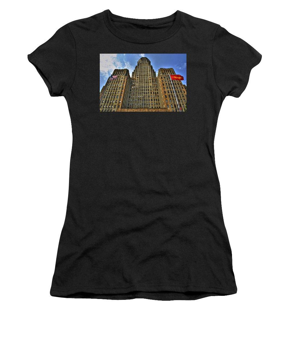 Buffalo Women's T-Shirt featuring the photograph 01 Buffalo Ny City Hall by Michael Frank Jr