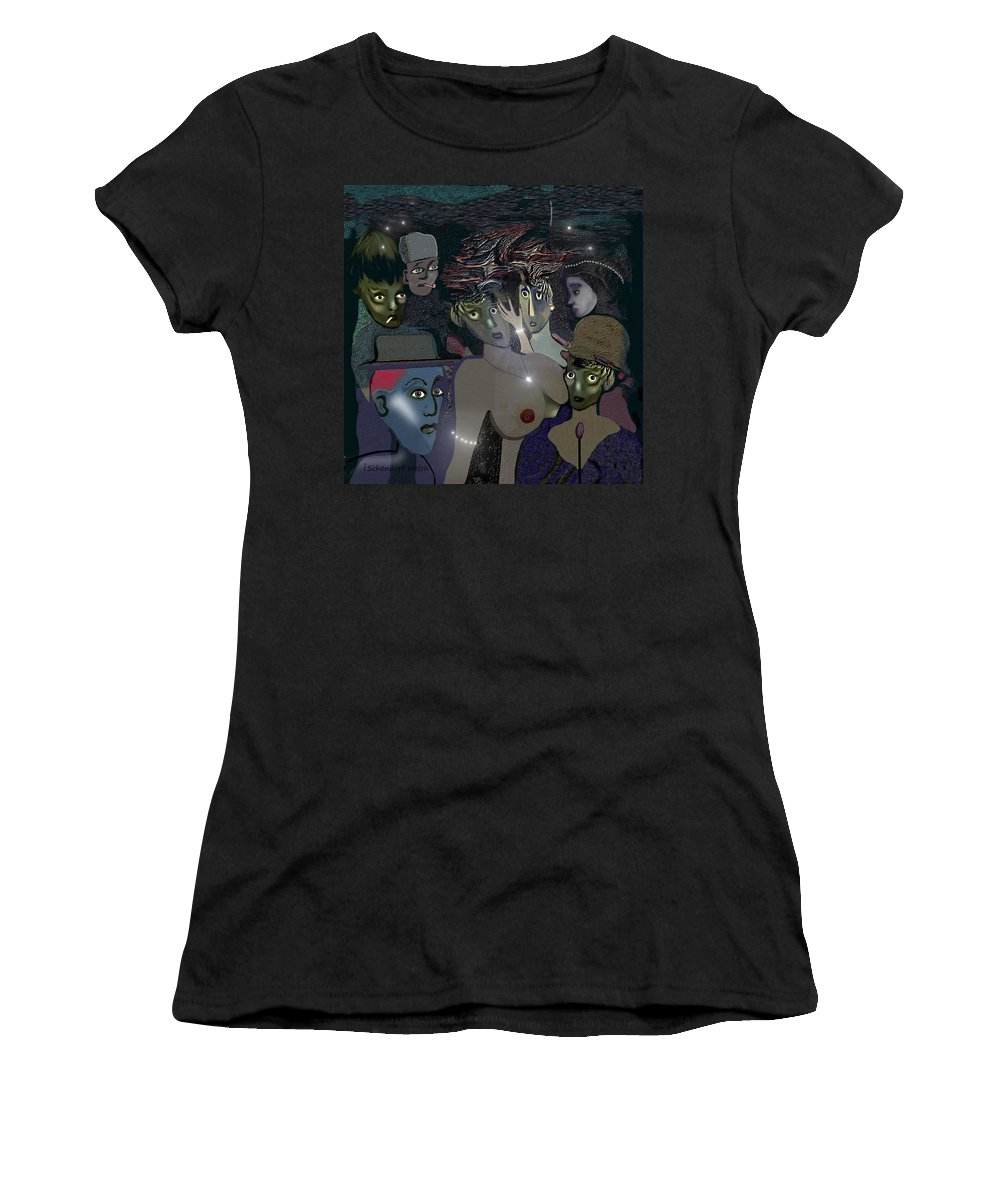 015 Berlin The 1920s Women's T-Shirt (Athletic Fit) featuring the painting 015 - Berlin The 1920s - The Shining by Irmgard Schoendorf Welch