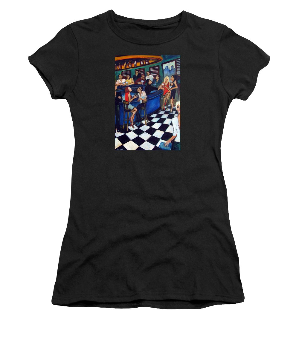 Chicago Style Bar Women's T-Shirt (Athletic Fit) featuring the painting 32 East by Valerie Vescovi