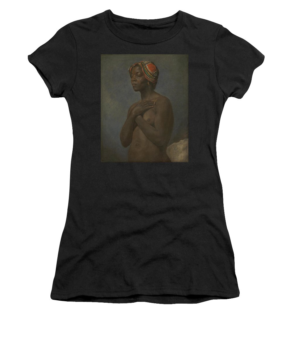 French Women's T-Shirt (Athletic Fit) featuring the digital art A Black Woman by PixBreak Art