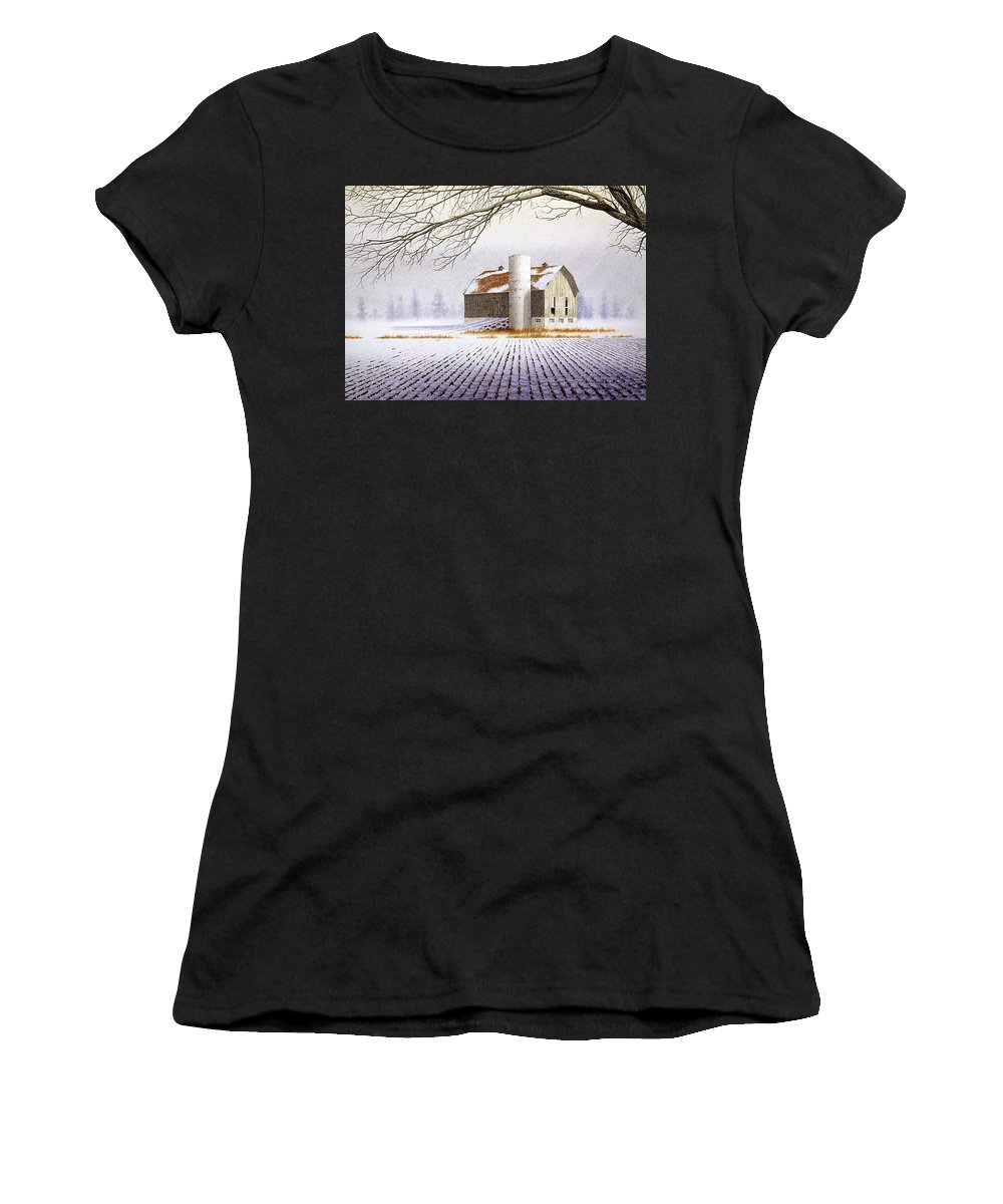 Rural Women's T-Shirt featuring the painting A Far Distant Feeling by Conrad Mieschke