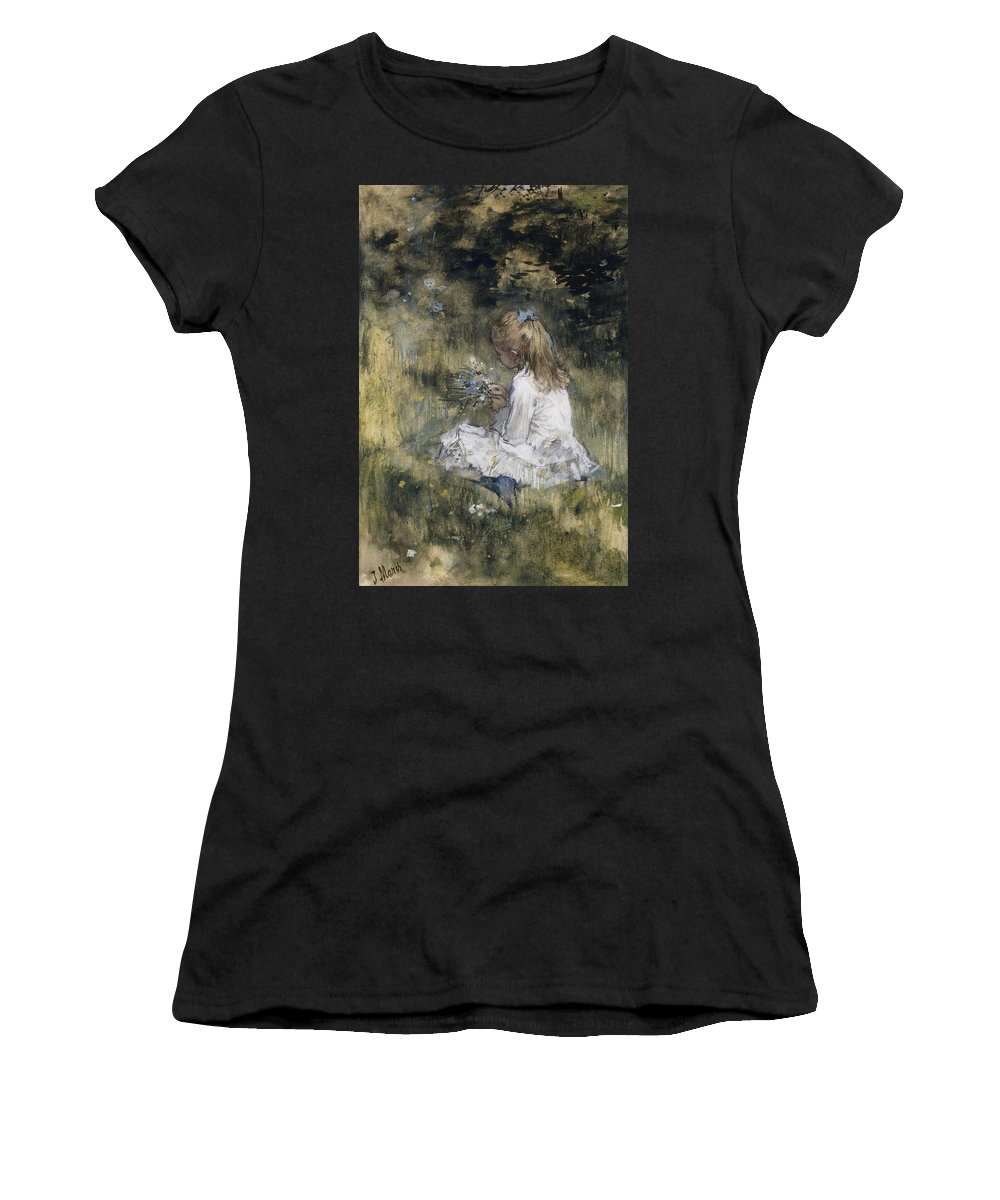 A Girl With Flowers On The Grass Women's T-Shirt (Athletic Fit) featuring the painting A Girl With Flowers On The Grass by Jacob Maris