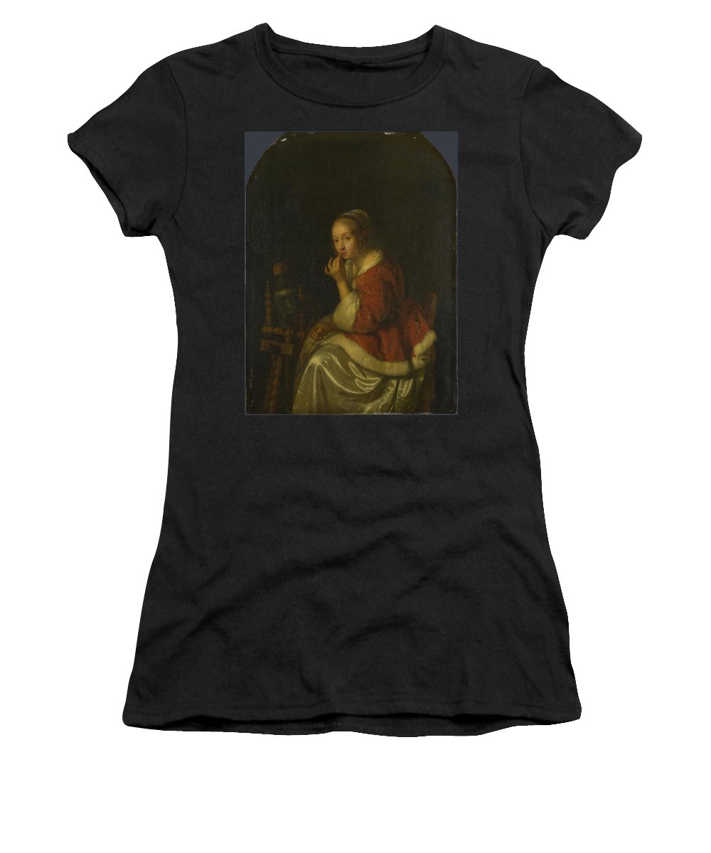 Caspar Women's T-Shirt (Athletic Fit) featuring the digital art A Lady At A Spinning Wheel by PixBreak Art