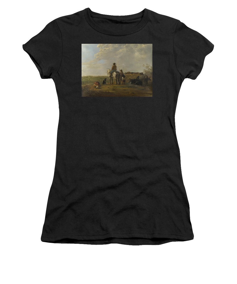 Aelbert Women's T-Shirt (Athletic Fit) featuring the digital art A Landscape With Horseman Herders And Cattle by PixBreak Art