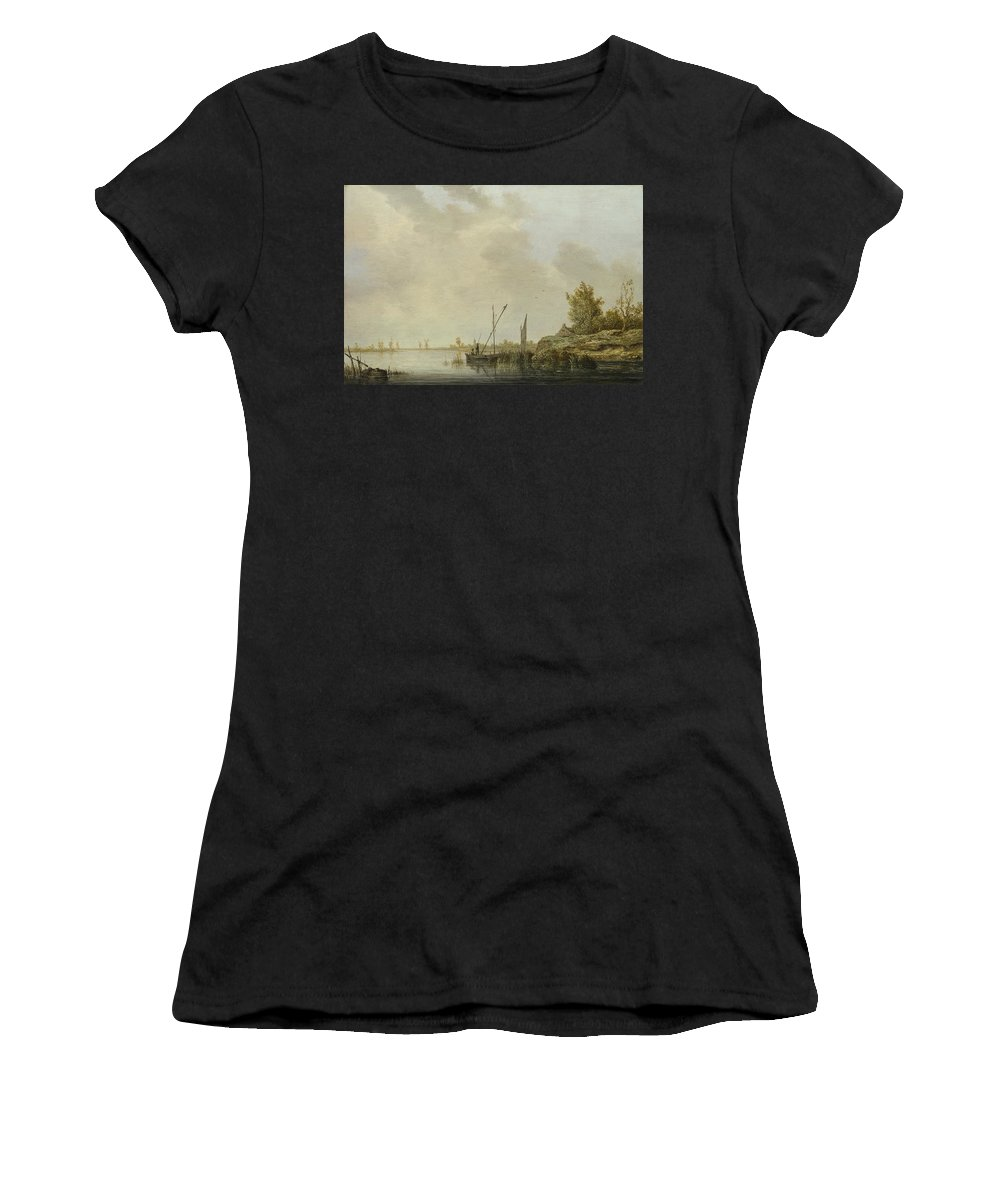 Aelbert Women's T-Shirt (Athletic Fit) featuring the digital art A River Scene With Distant Windmills by PixBreak Art