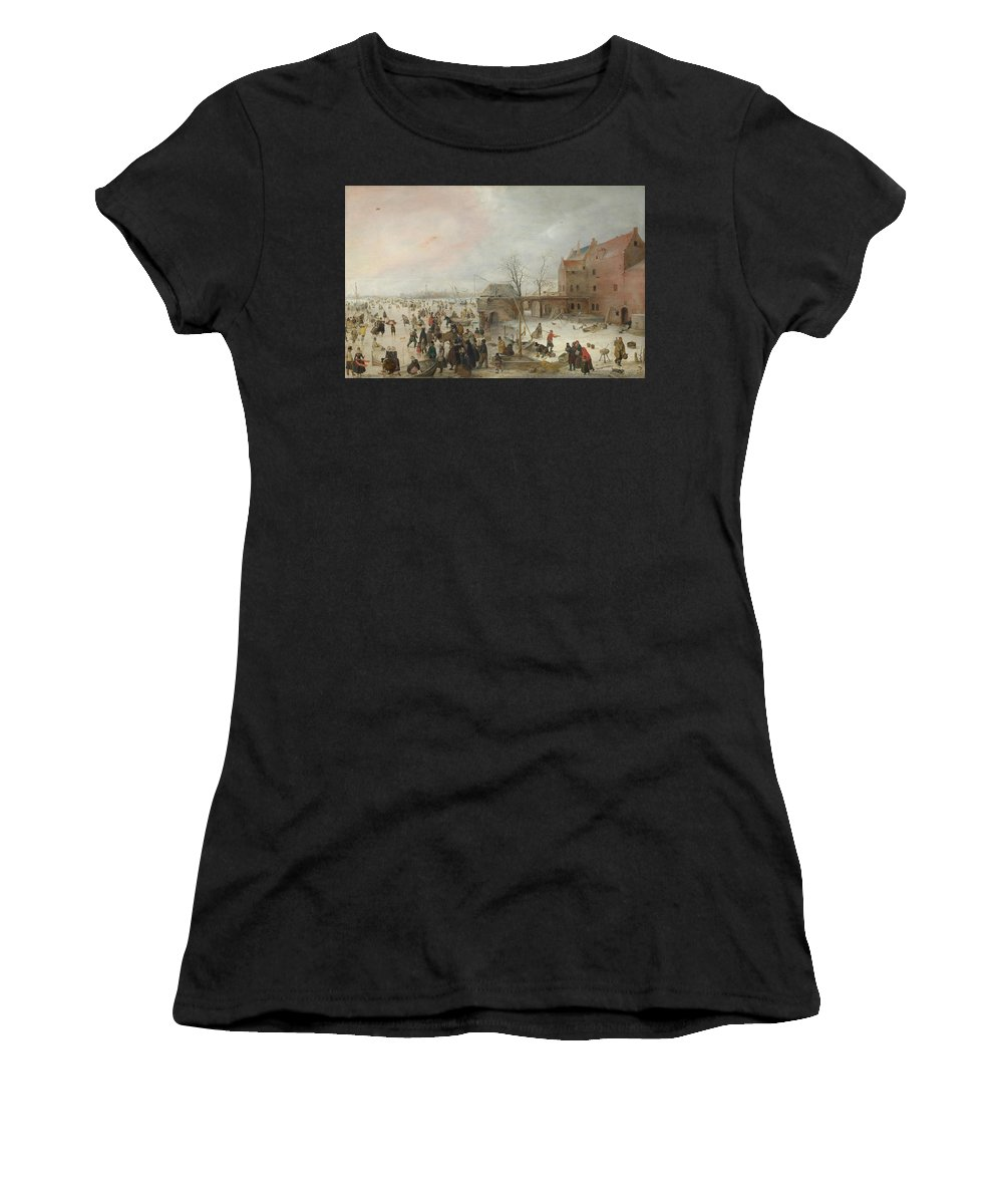 Hendrick Women's T-Shirt (Athletic Fit) featuring the digital art A Scene On The Ice Near A Town by PixBreak Art