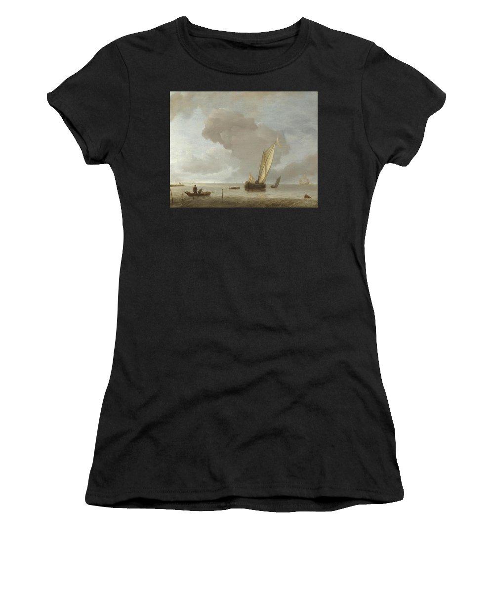 Jan Women's T-Shirt (Athletic Fit) featuring the digital art A Small Dutch Vessel Before A Light Breeze by PixBreak Art