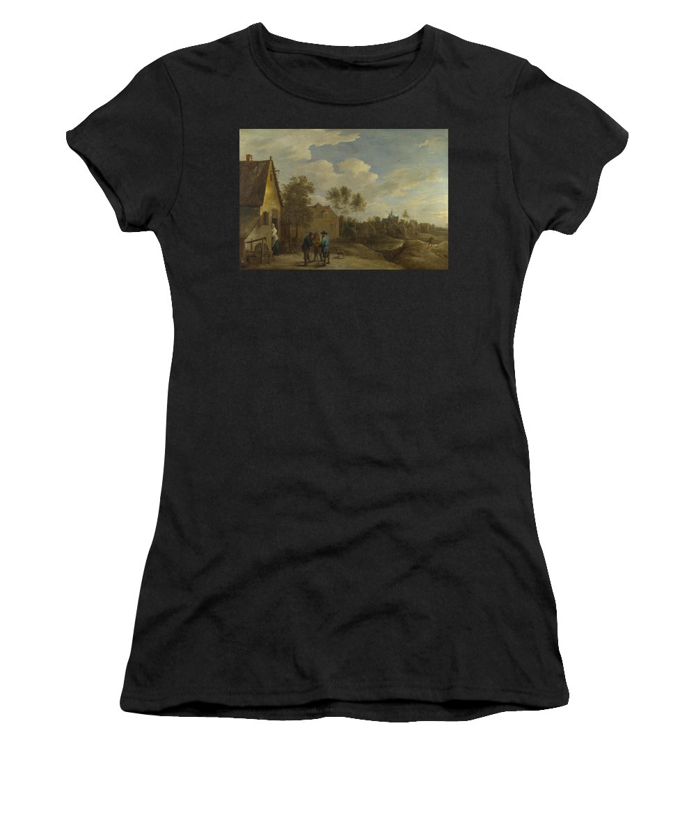 David Women's T-Shirt (Athletic Fit) featuring the digital art A View Of A Village by PixBreak Art