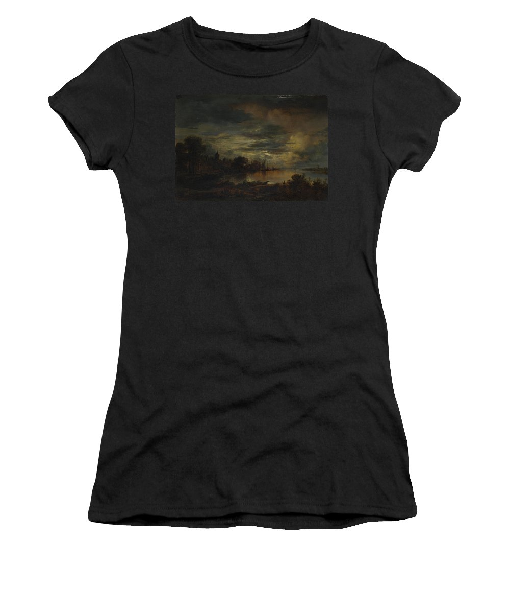 Aert Women's T-Shirt (Athletic Fit) featuring the digital art A Village By A River In Moonlight by PixBreak Art