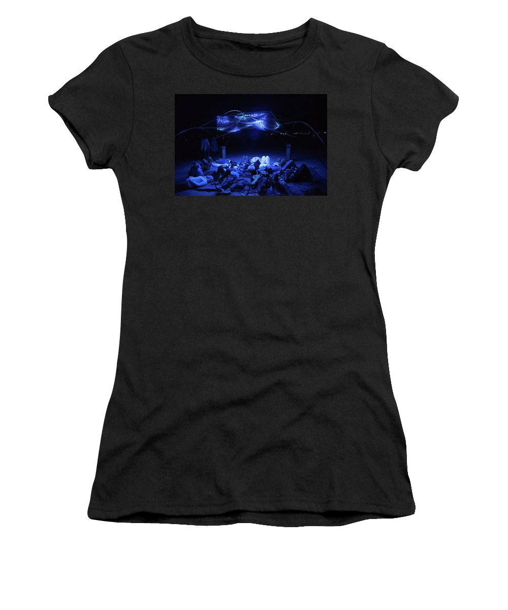 Afrika Burn Women's T-Shirt (Athletic Fit) featuring the photograph Ab Artwork At Night by Gareth Pickering