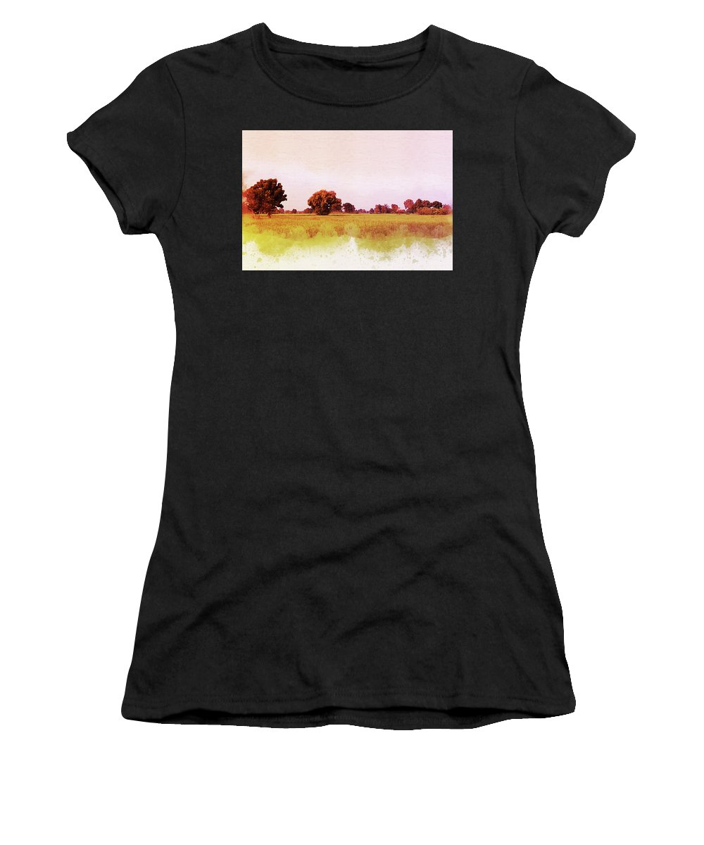 Outdoor Women's T-Shirt (Athletic Fit) featuring the painting Abstract Beautiful Tree And Landscape For Background. by Punnarong Lotulit