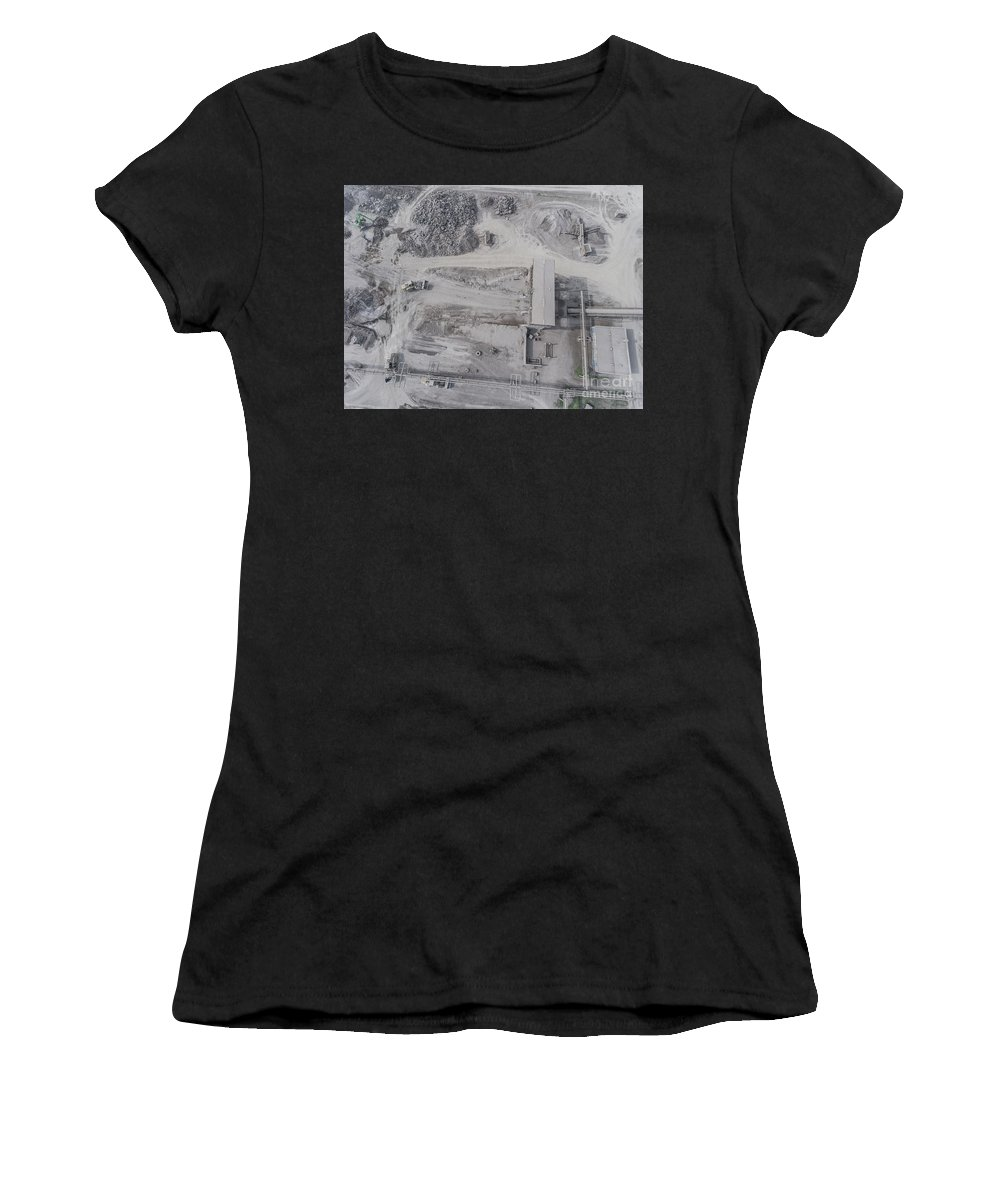 Open Women's T-Shirt (Athletic Fit) featuring the photograph Aerial View Of Open Pit Sand Quarries. View From Above. by Mariusz Prusaczyk