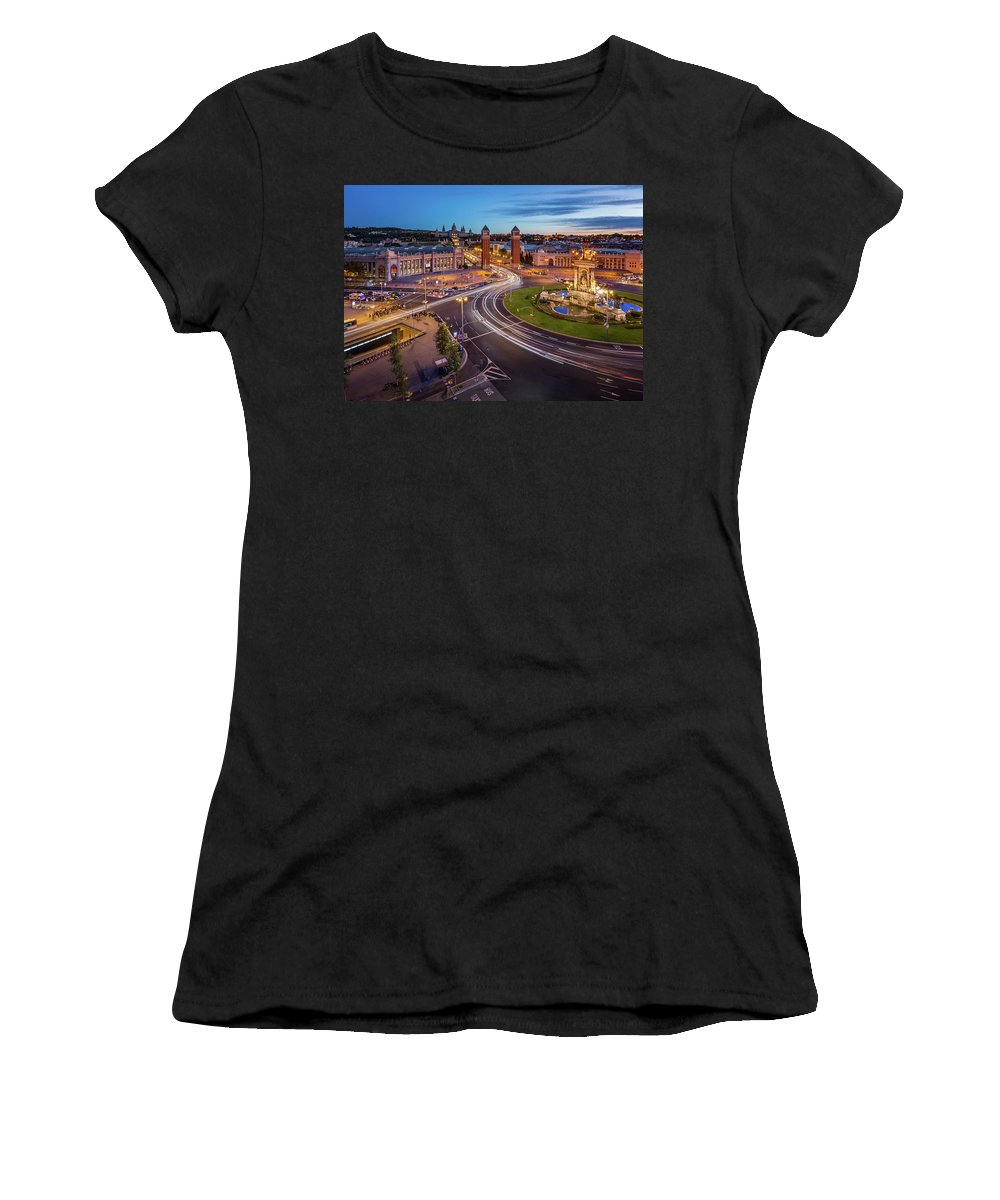 Aerial Women's T-Shirt (Athletic Fit) featuring the photograph Aerial View On Placa Espanya And Montjuic Hill With National Art by Andrey Omelyanchuk