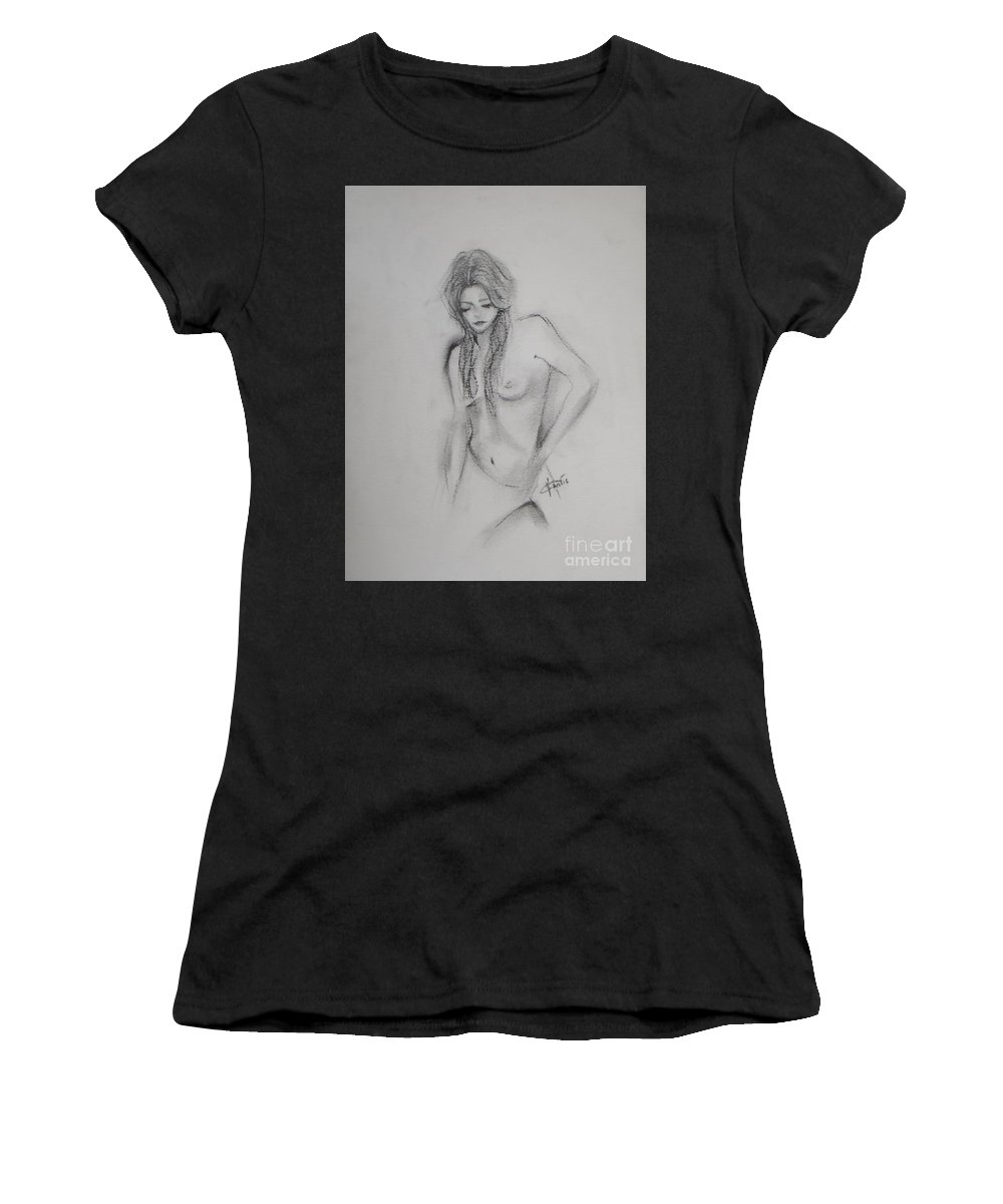 Nude Women's T-Shirt featuring the drawing Woman Nude Drawing by Vesna Antic