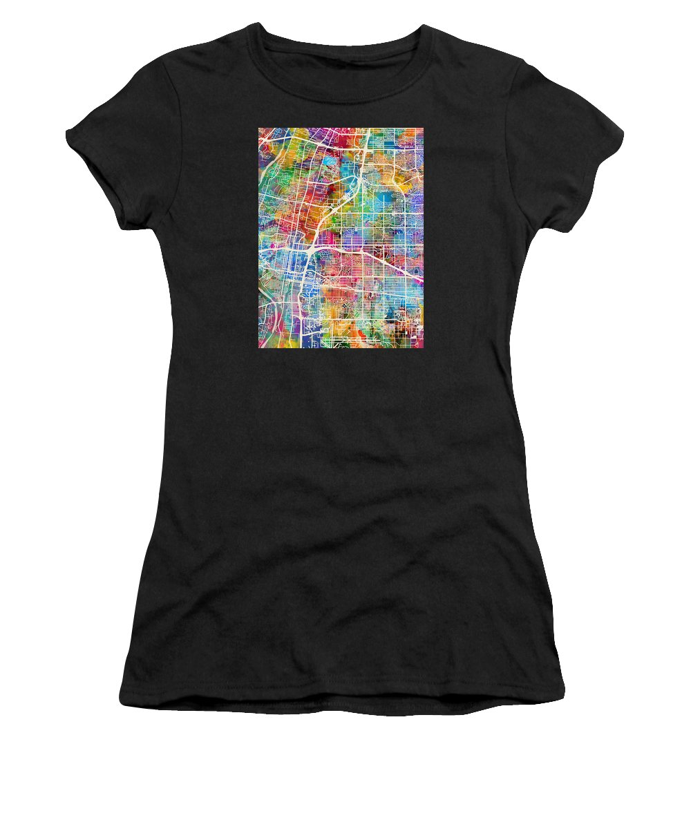 Street Map Women's T-Shirt (Athletic Fit) featuring the digital art Albuquerque New Mexico City Street Map by Michael Tompsett